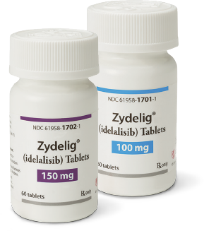 Image of ZYDELIG® (idelalisib) pill bottles for doses 150 mg and 100 mg